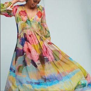 Anthropologie albano caftan dress cover m/l
